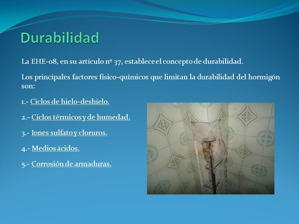 Durabilidad La EHE-08, en su artículo nº 37, establece el concepto de durabilidad.