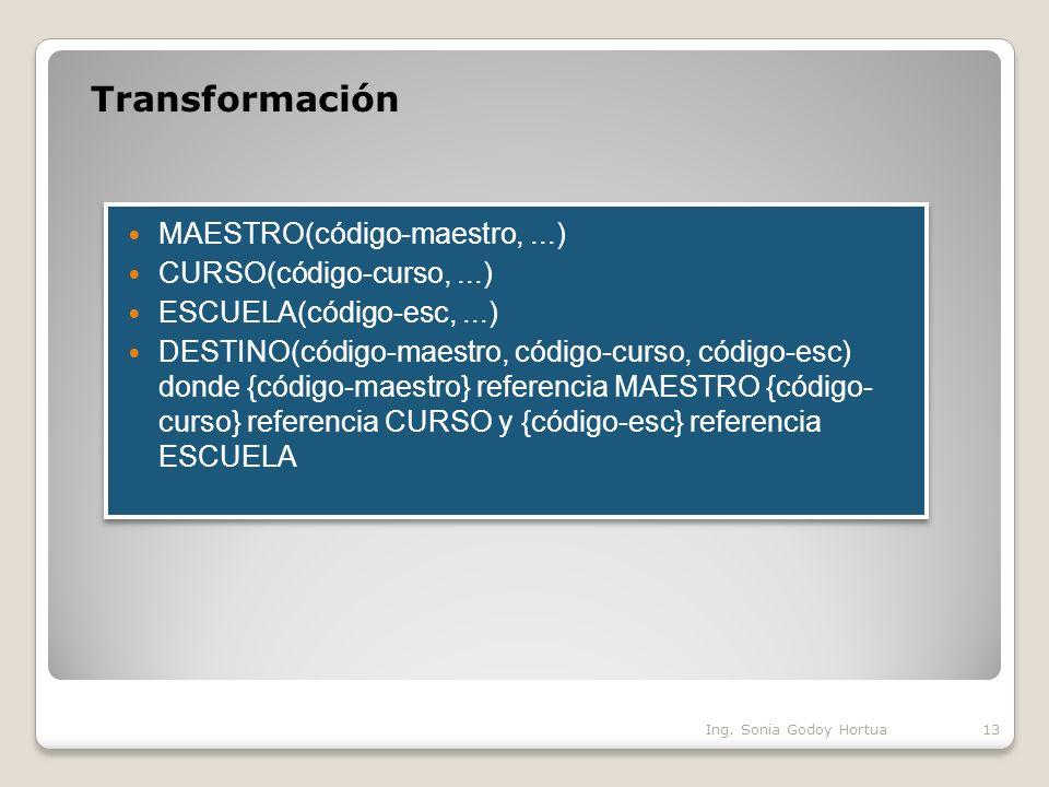 Transformación MAESTRO(código-maestro, ...) CURSO(código-curso, ...)