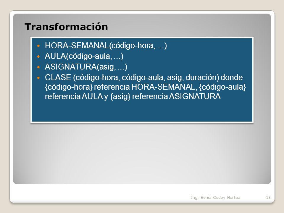 Transformación HORA-SEMANAL(código-hora, ...) AULA(código-aula, ...)