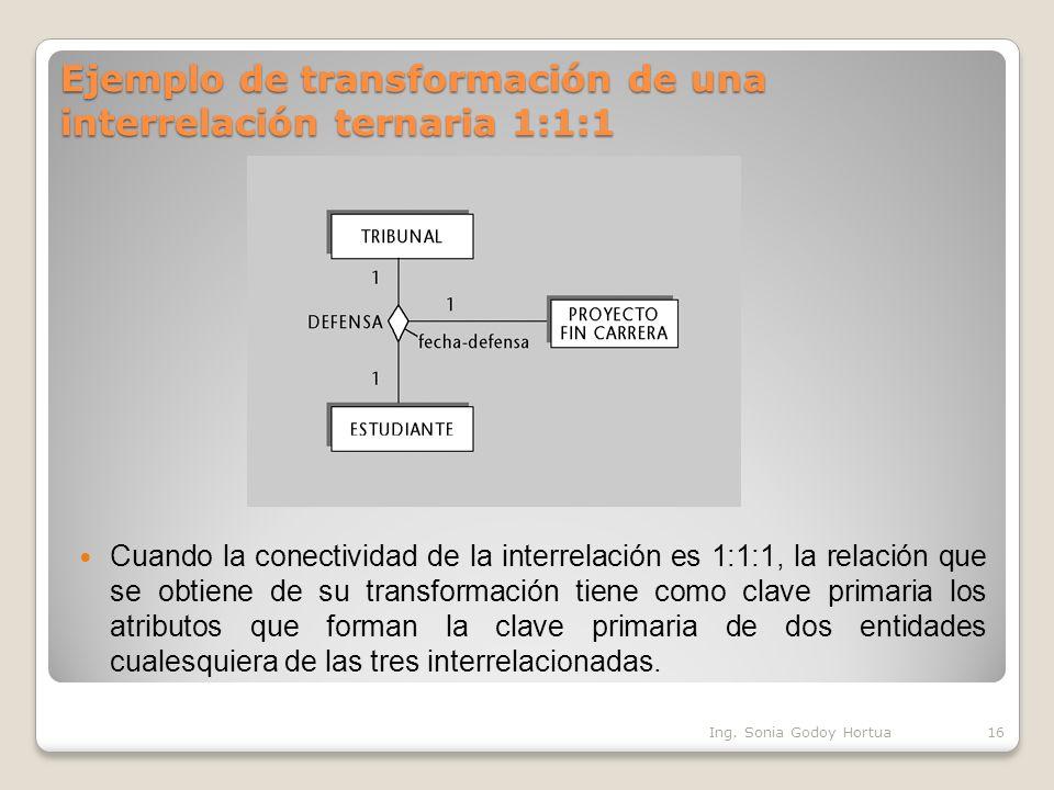Ejemplo de transformación de una interrelación ternaria 1:1:1