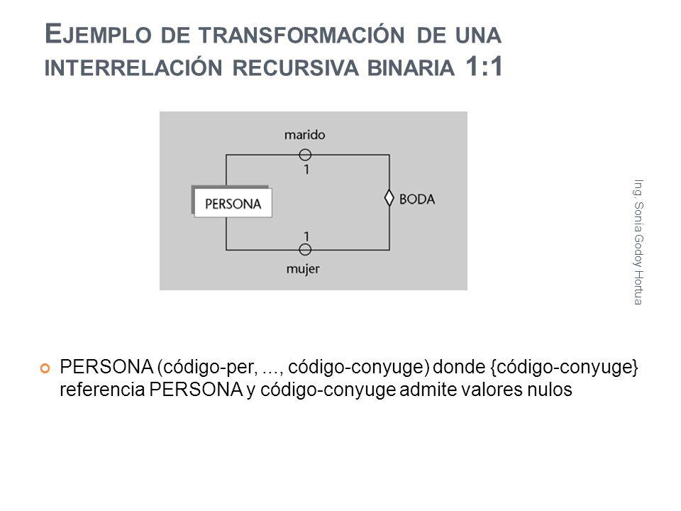 Ejemplo de transformación de una interrelación recursiva binaria 1:1