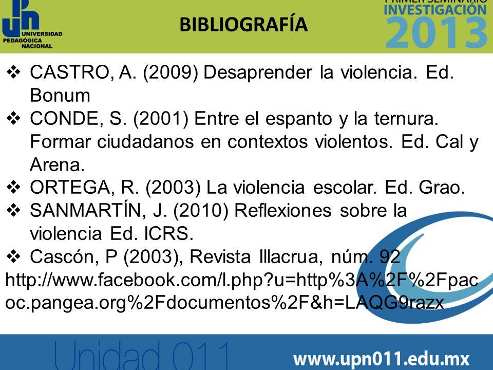 BIBLIOGRAFÍA CASTRO, A. (2009) Desaprender la violencia. Ed. Bonum