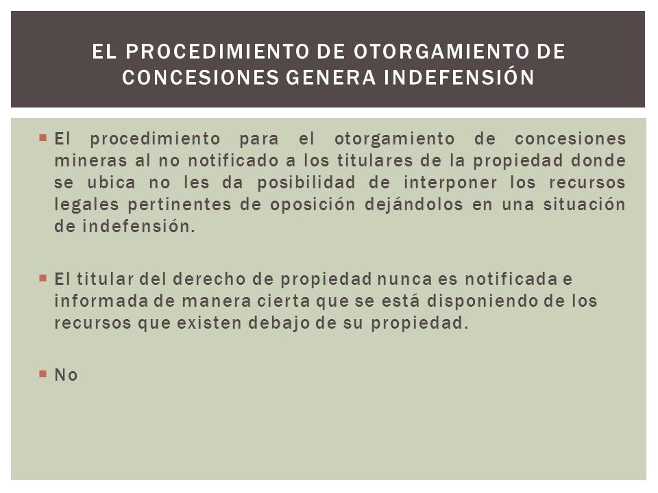 El procedimiento de otorgamiento de concesiones genera indefensión