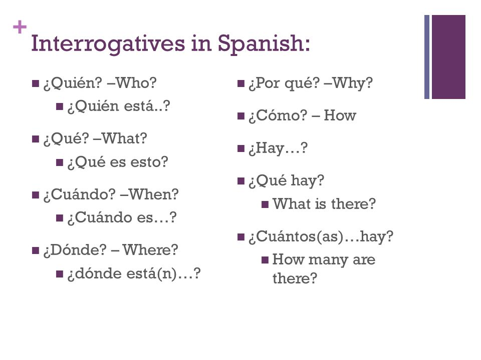 Interrogatives in Spanish: