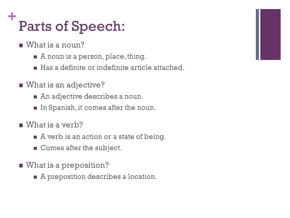 Parts of Speech: What is a noun What is an adjective What is a verb