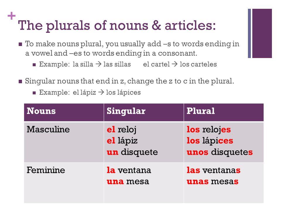 The plurals of nouns & articles: