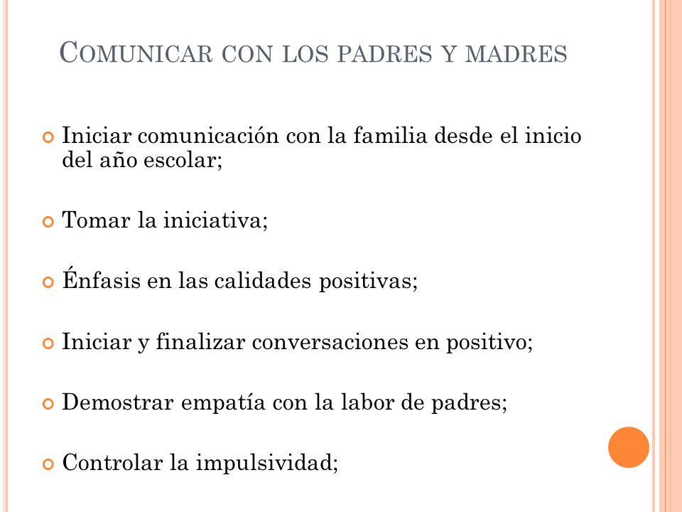Comunicar con los padres y madres