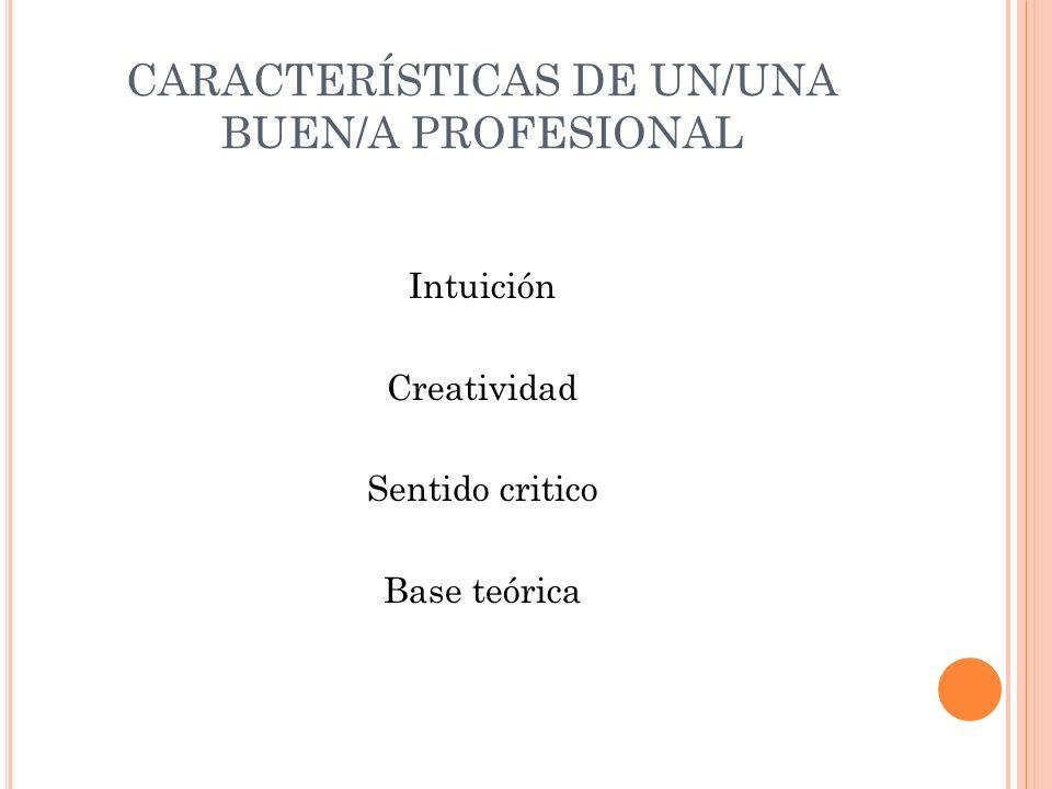 CARACTERÍSTICAS DE UN/UNA BUEN/A PROFESIONAL