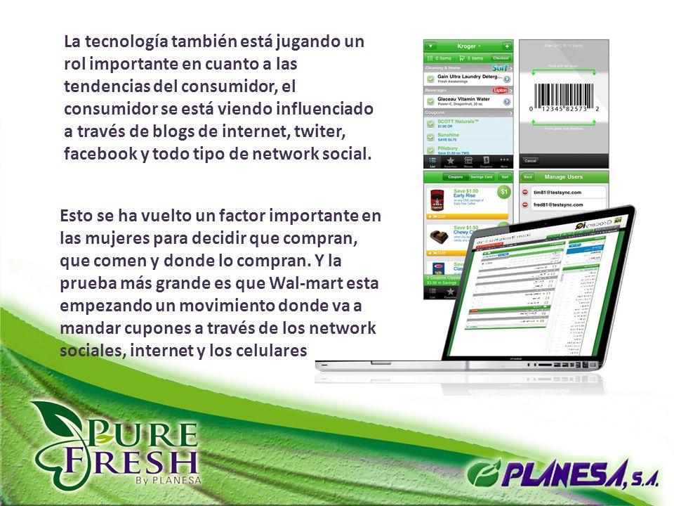 La tecnología también está jugando un rol importante en cuanto a las tendencias del consumidor, el consumidor se está viendo influenciado a través de blogs de internet, twiter, facebook y todo tipo de network social.