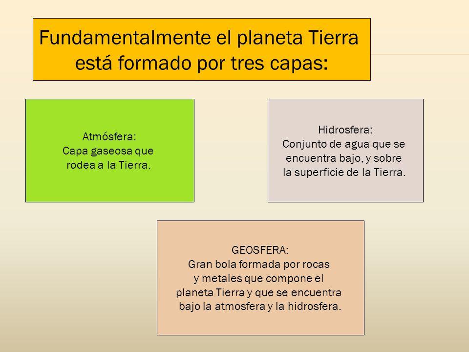 Fundamentalmente el planeta Tierra está formado por tres capas: