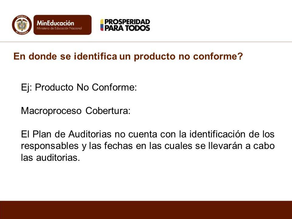 En donde se identifica un producto no conforme