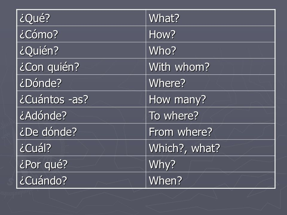 ¿Qué What ¿Cómo How ¿Quién Who ¿Con quién With whom ¿Dónde Where ¿Cuántos -as How many
