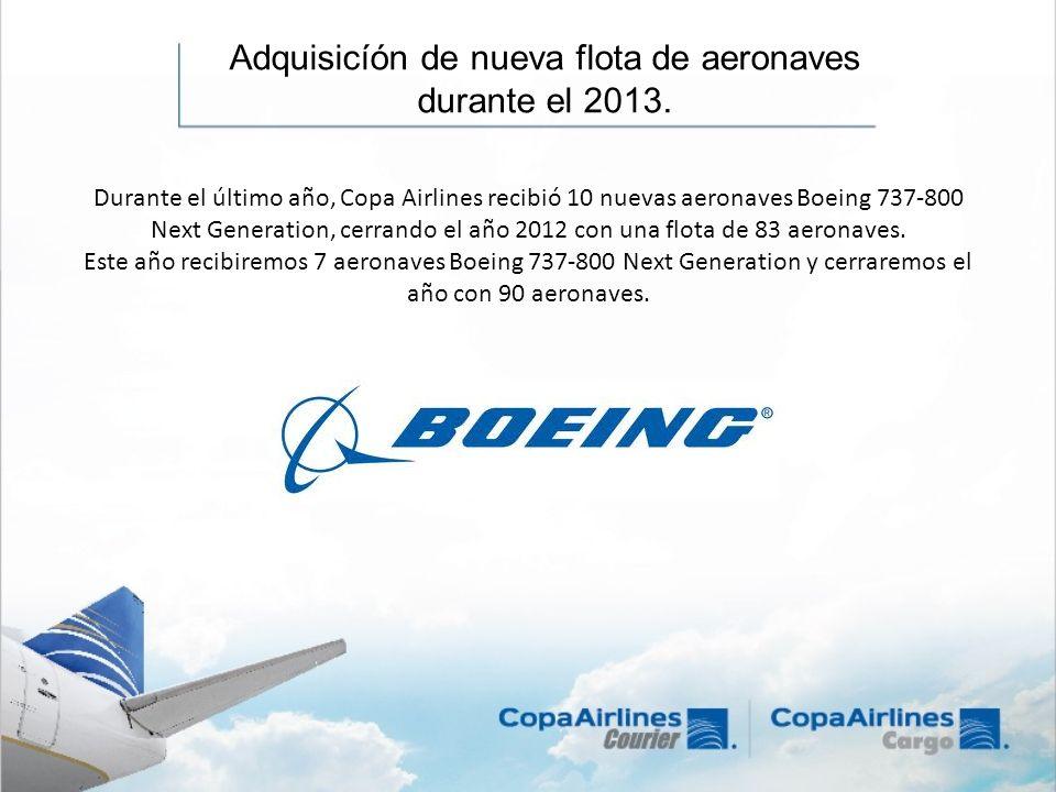 Adquisicíón de nueva flota de aeronaves durante el 2013.