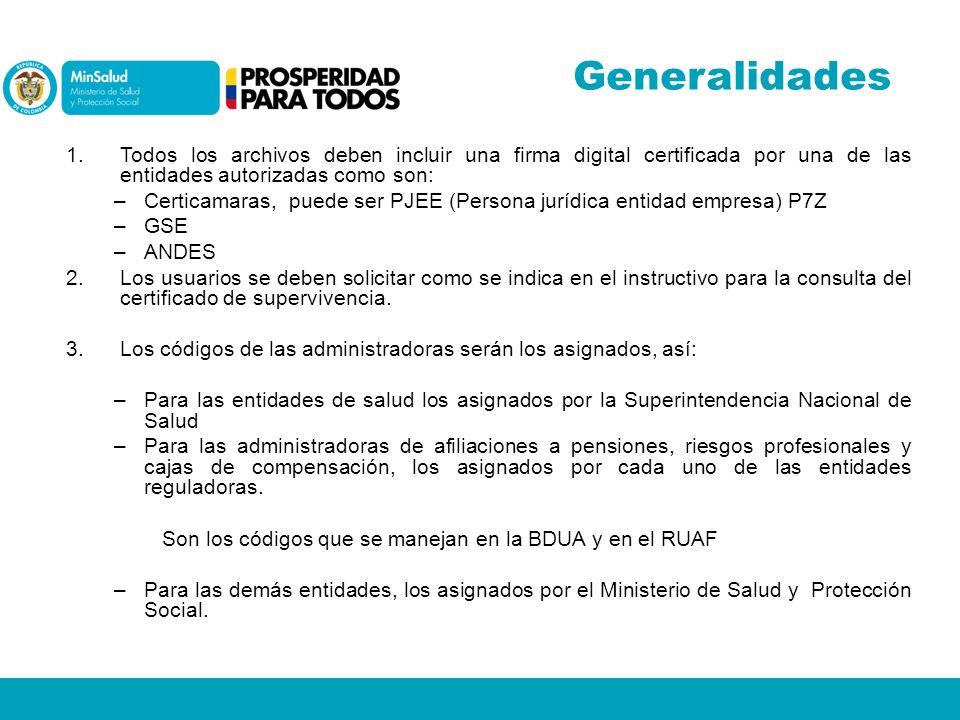 Generalidades Todos los archivos deben incluir una firma digital certificada por una de las entidades autorizadas como son:
