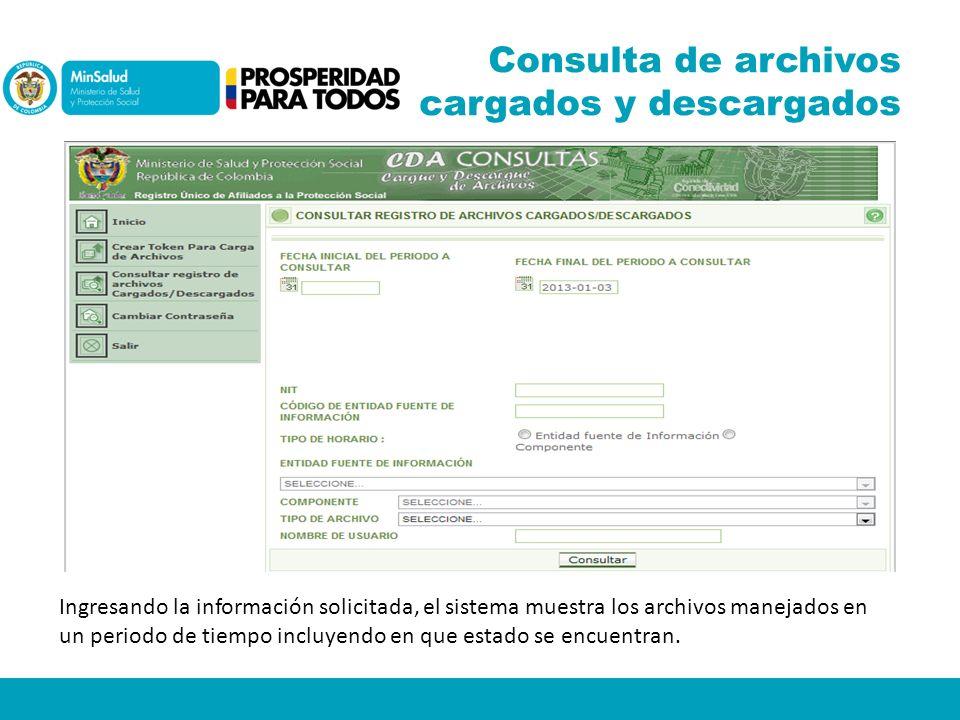 Consulta de archivos cargados y descargados