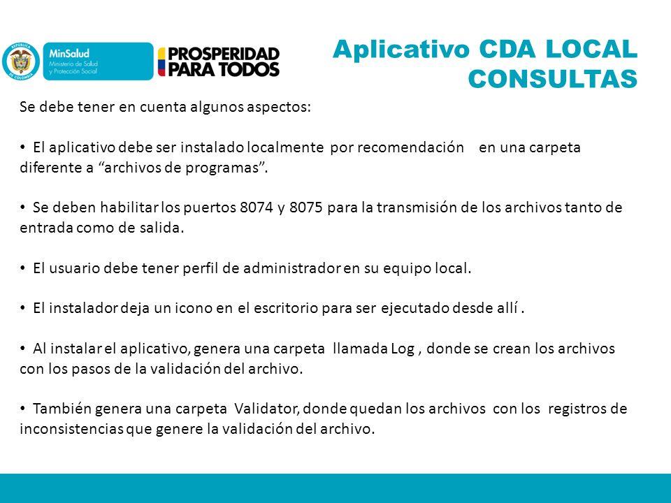 Aplicativo CDA LOCAL CONSULTAS