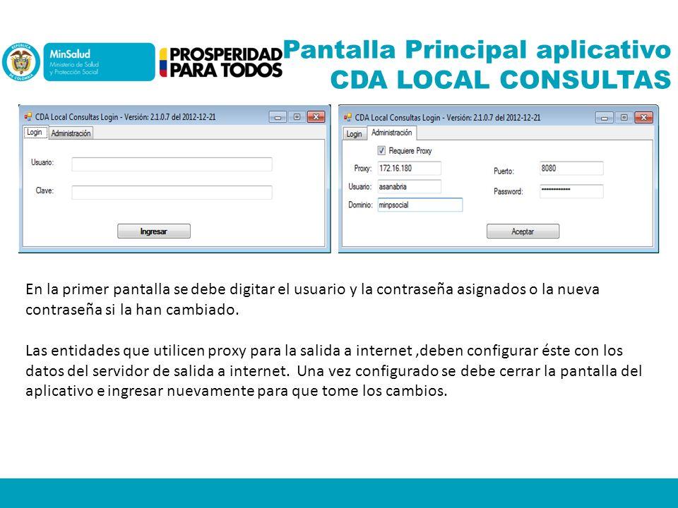 Pantalla Principal aplicativo CDA LOCAL CONSULTAS