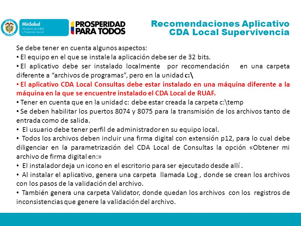 Recomendaciones Aplicativo CDA Local Supervivencia