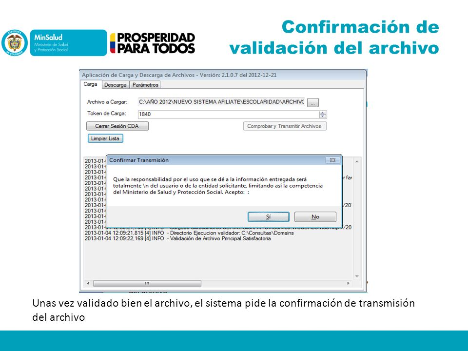 Confirmación de validación del archivo