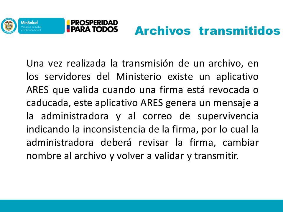 Archivos transmitidos
