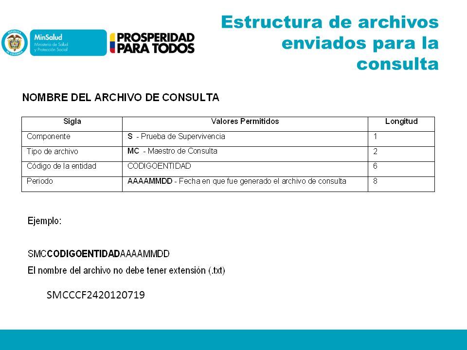 Estructura de archivos enviados para la consulta