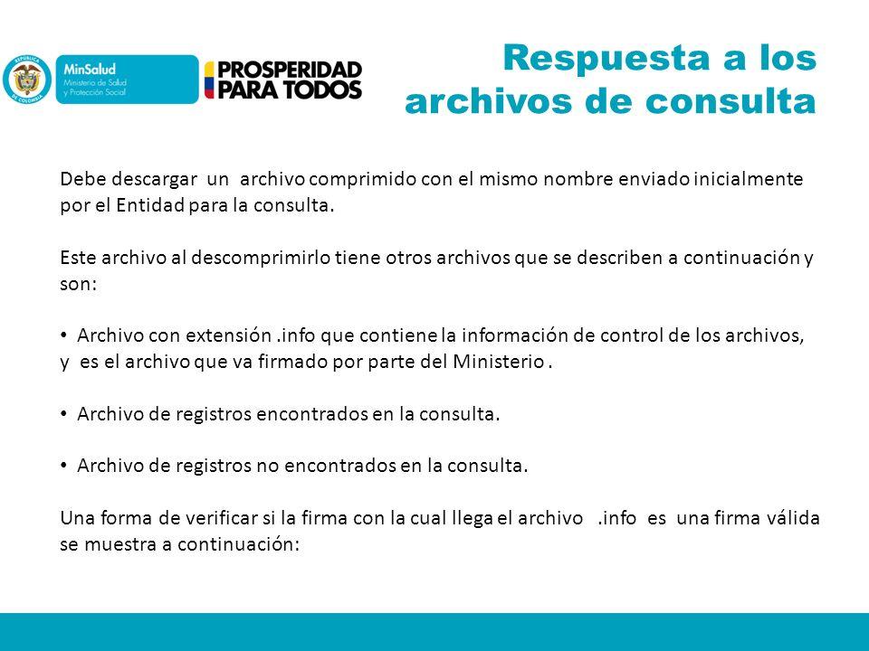 Respuesta a los archivos de consulta