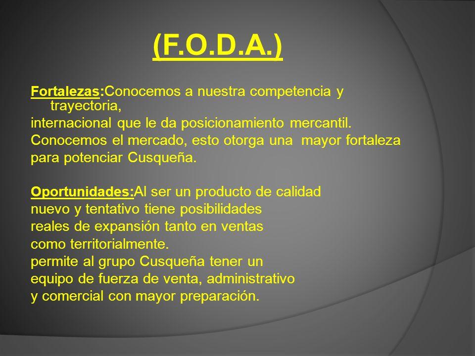 (F.O.D.A.) internacional que le da posicionamiento mercantil.
