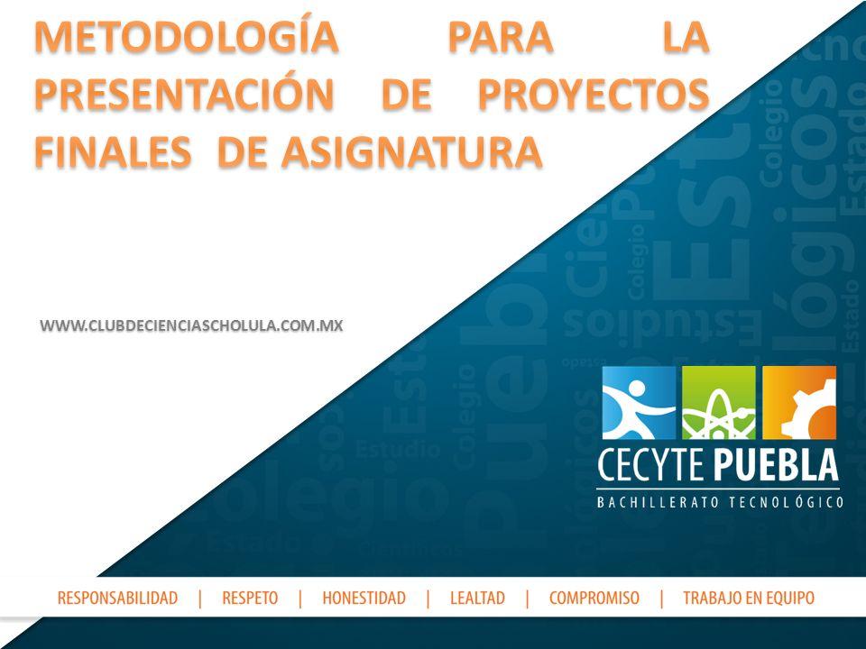METODOLOGÍA PARA LA PRESENTACIÓN DE PROYECTOS FINALES DE ASIGNATURA