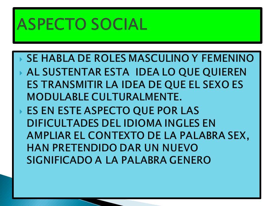 ASPECTO SOCIAL SE HABLA DE ROLES MASCULINO Y FEMENINO