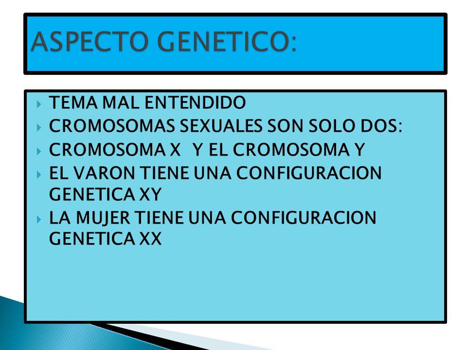 ASPECTO GENETICO: TEMA MAL ENTENDIDO CROMOSOMAS SEXUALES SON SOLO DOS: