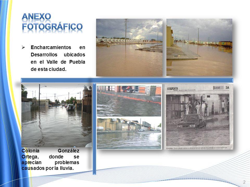 Anexo Fotográfico Encharcamientos en Desarrollos ubicados en el Valle de Puebla de esta ciudad.