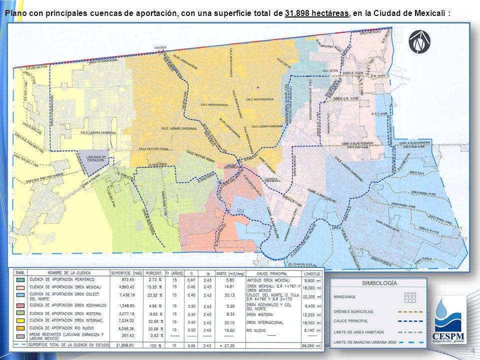 Plano con principales cuencas de aportación, con una superficie total de 31,898 hectáreas, en la Ciudad de Mexicali :