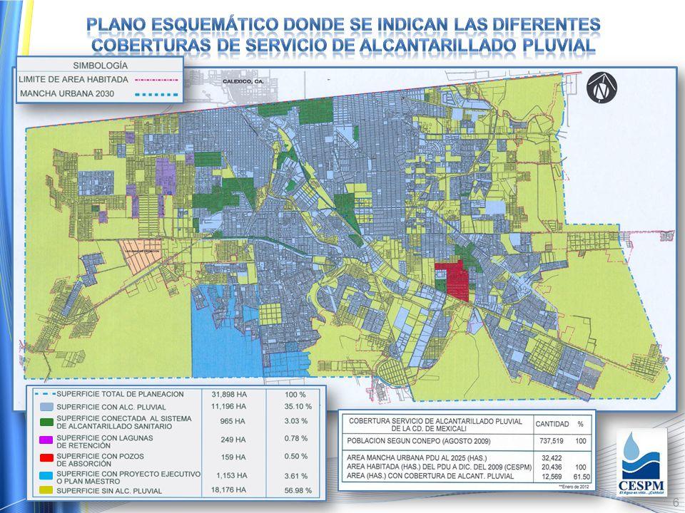 PLANO ESQUEMáTICO DONDE SE INDICAN LAS DIFERENTES COBERTURAS DE SERVICIO DE ALCANTARILLADO PLUVIAL