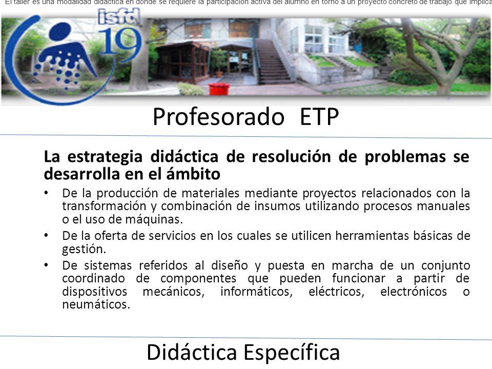 Profesorado ETP Didáctica Específica