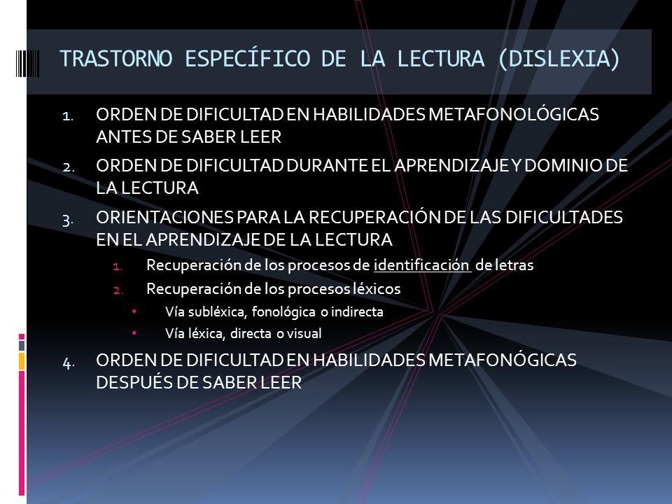TRASTORNO ESPECÍFICO DE LA LECTURA (DISLEXIA)