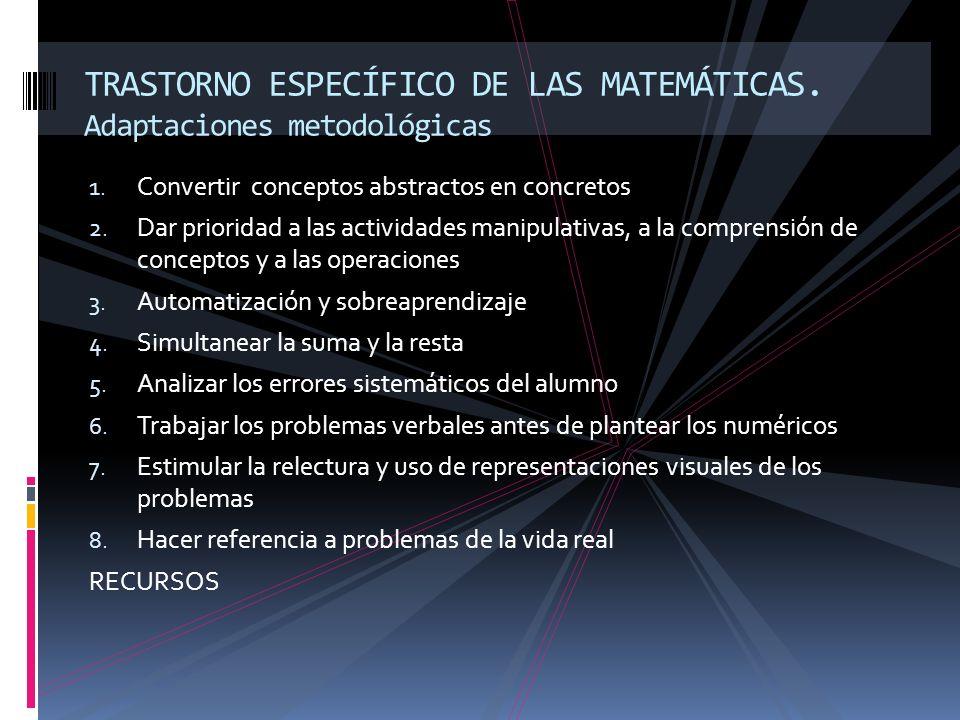TRASTORNO ESPECÍFICO DE LAS MATEMÁTICAS. Adaptaciones metodológicas