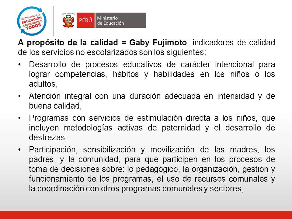 A propósito de la calidad = Gaby Fujimoto: indicadores de calidad de los servicios no escolarizados son los siguientes: