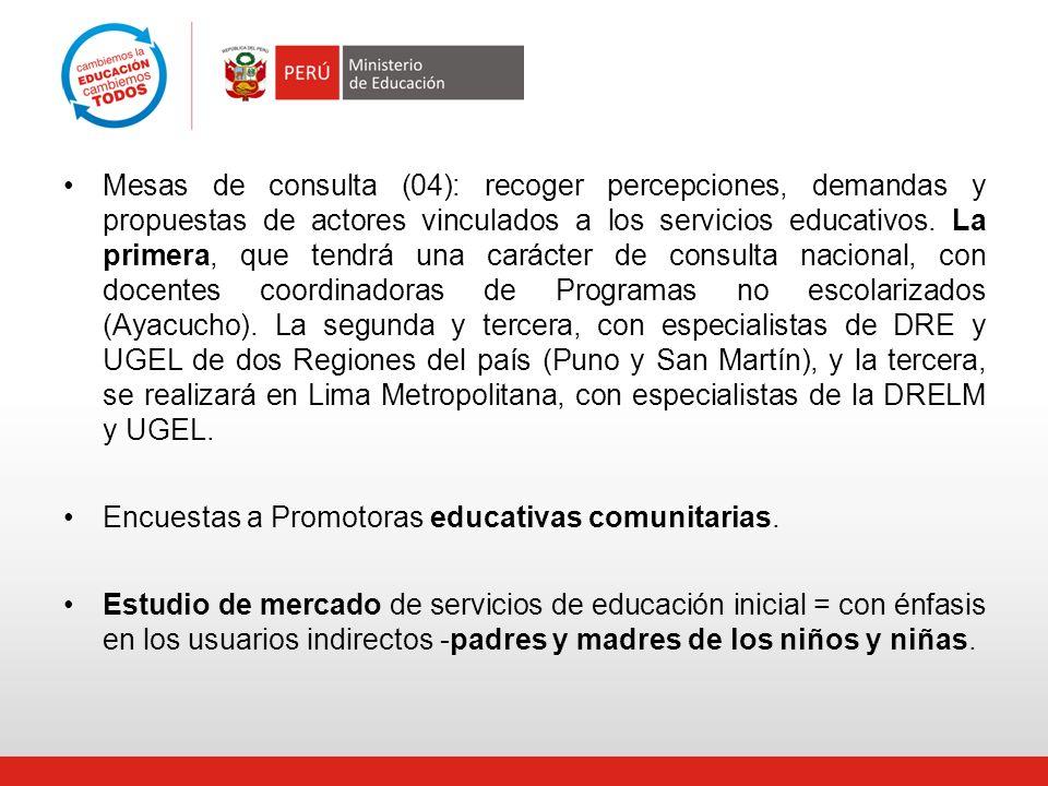 Mesas de consulta (04): recoger percepciones, demandas y propuestas de actores vinculados a los servicios educativos. La primera, que tendrá una carácter de consulta nacional, con docentes coordinadoras de Programas no escolarizados (Ayacucho). La segunda y tercera, con especialistas de DRE y UGEL de dos Regiones del país (Puno y San Martín), y la tercera, se realizará en Lima Metropolitana, con especialistas de la DRELM y UGEL.
