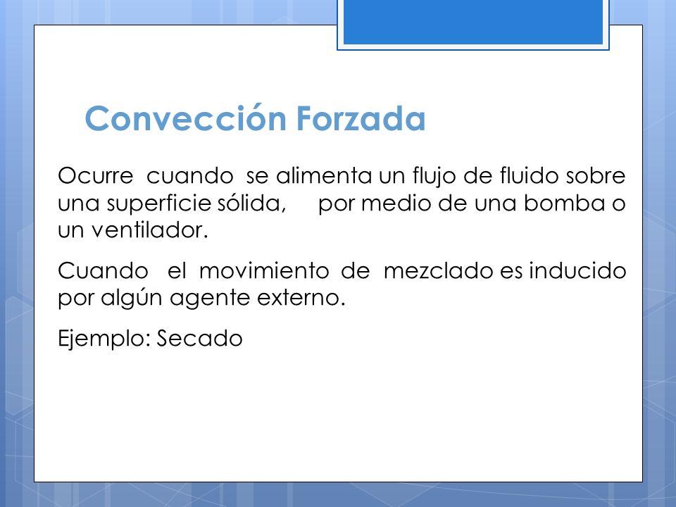 Convección Forzada Ocurre cuando se alimenta un flujo de fluido sobre una superficie sólida, por medio de una bomba o un ventilador.