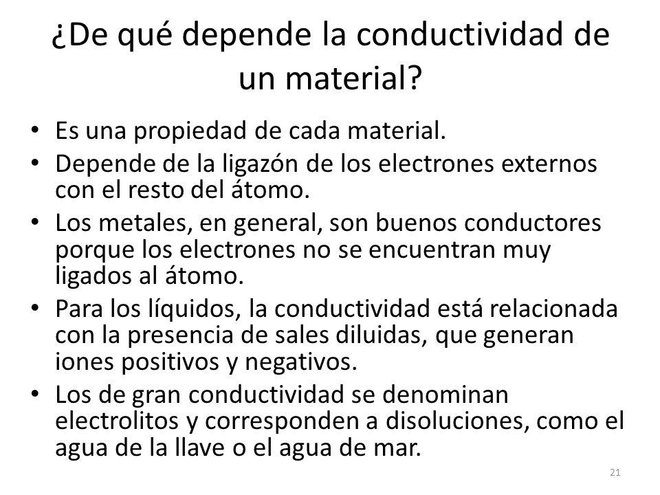 ¿De qué depende la conductividad de un material