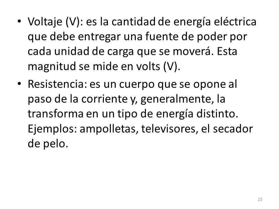 Voltaje (V): es la cantidad de energía eléctrica que debe entregar una fuente de poder por cada unidad de carga que se moverá. Esta magnitud se mide en volts (V).