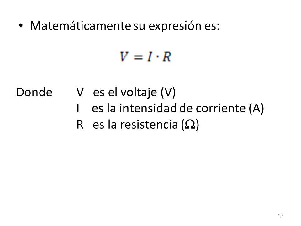 Matemáticamente su expresión es: