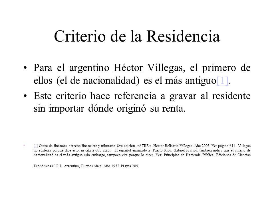 Criterio de la Residencia