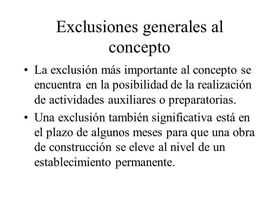 Exclusiones generales al concepto