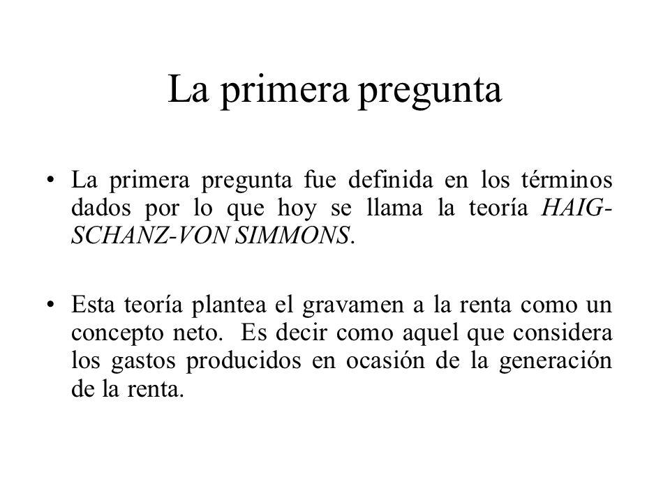La primera pregunta La primera pregunta fue definida en los términos dados por lo que hoy se llama la teoría HAIG-SCHANZ-VON SIMMONS.