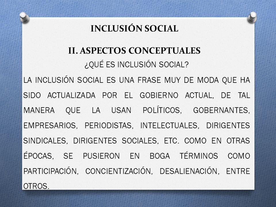 INCLUSIÓN SOCIAL II. ASPECTOS CONCEPTUALES