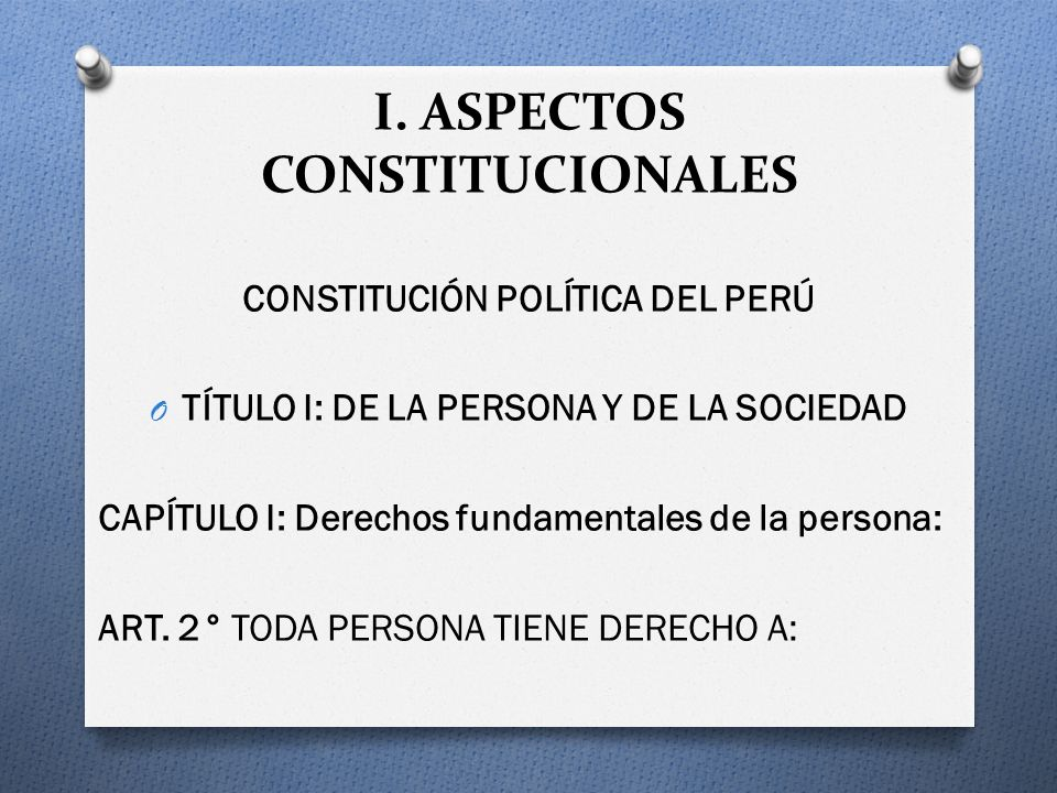 I. ASPECTOS CONSTITUCIONALES