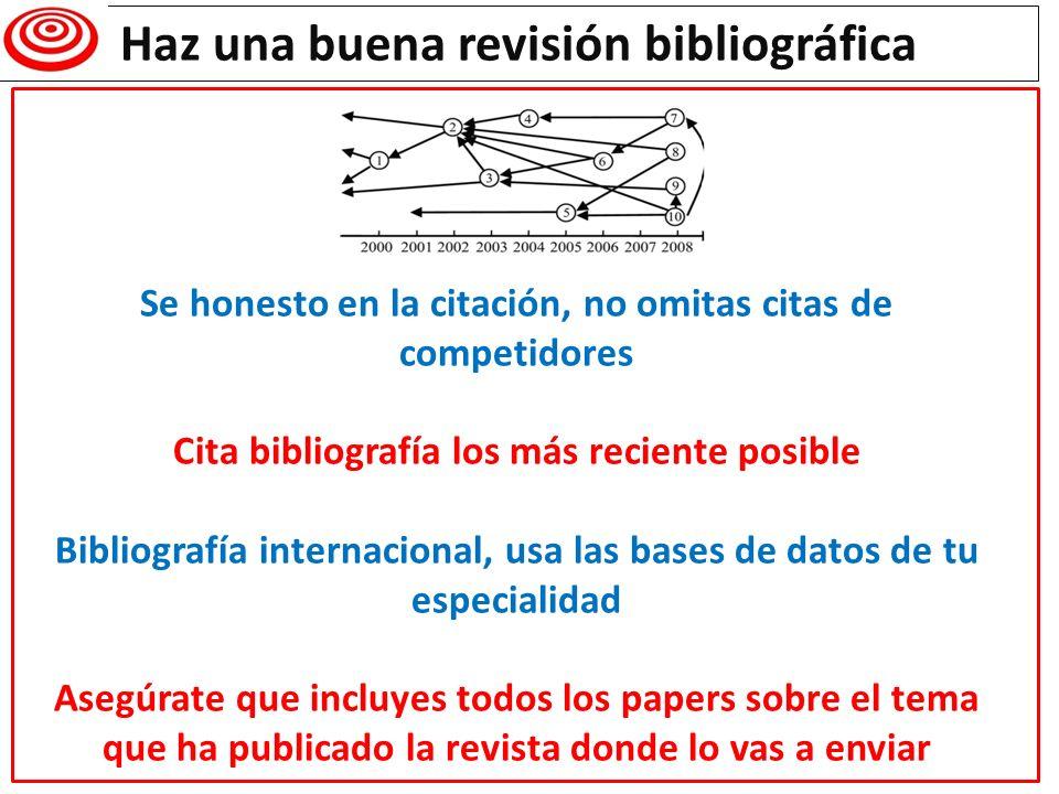 Haz una buena revisión bibliográfica