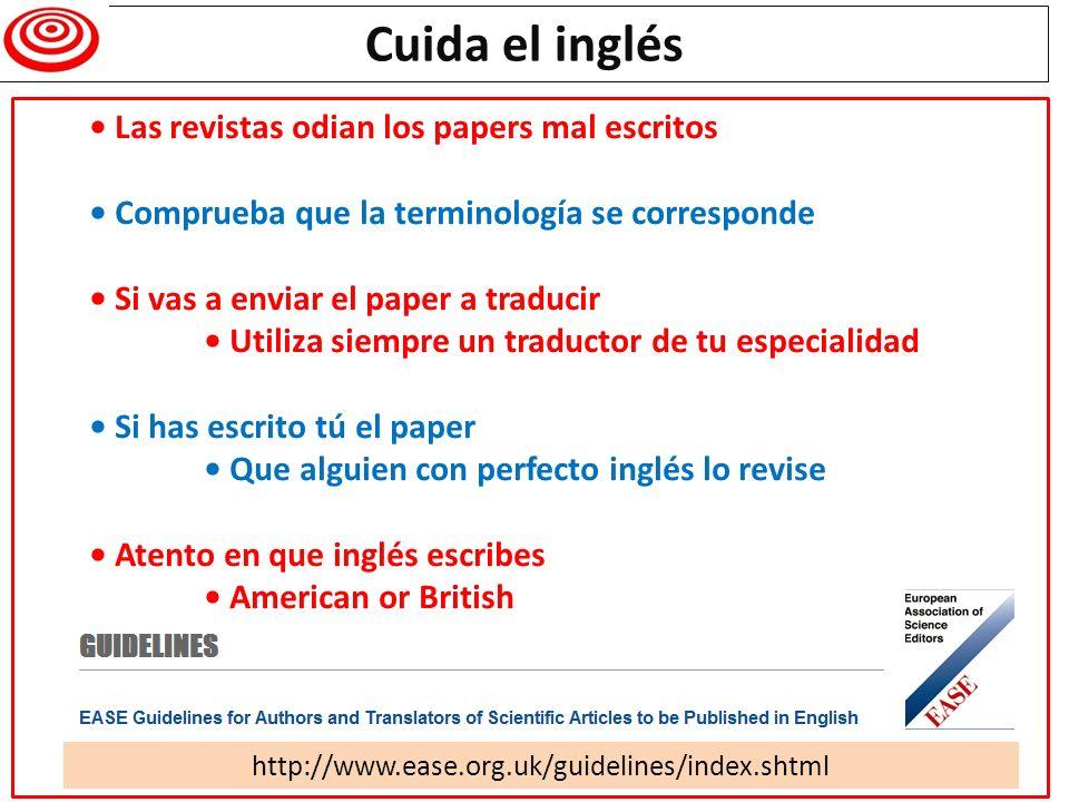 Cuida el inglés • Las revistas odian los papers mal escritos
