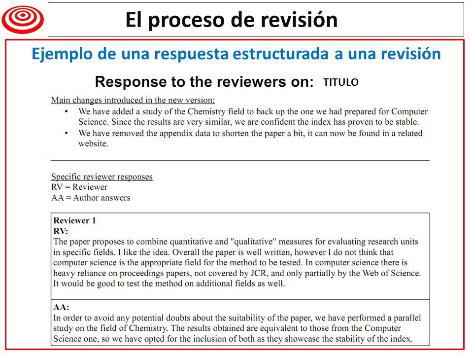 Ejemplo de una respuesta estructurada a una revisión
